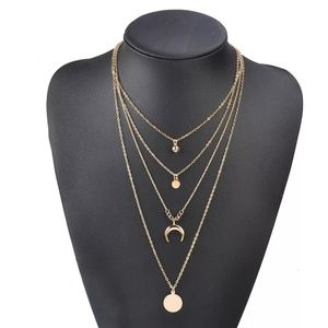 Layered Gold Crescent Moon Necklace New